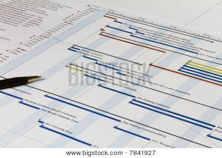 Gantt Chart With Pen On Left