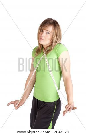 Woman With Tape Around Neck Shrugging