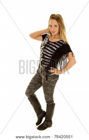 Woman Black Star Shirt Stand Camo Pants