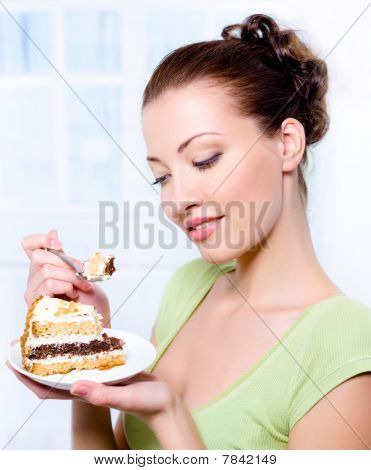 Beautiful Young Girl With Sweet Cake