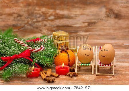 funny eggs, Christmas, mandarin, gift and candles