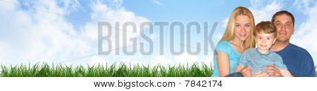 Happy Family Header with Clouds and Grass