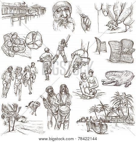 Jamaica Travel - Full Sized Hand Drawn Pack On White