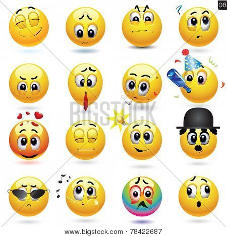 Vector set of smiley icons with different face expression.