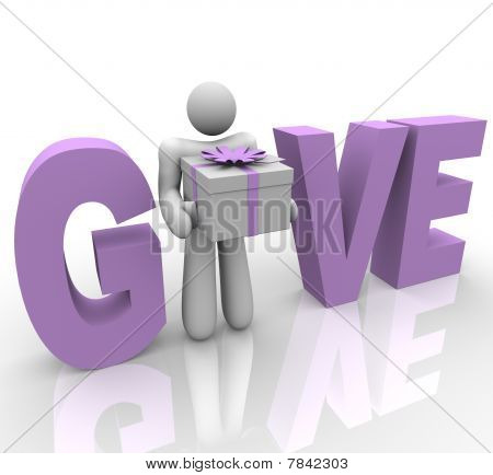 Give - Man In Word Holding Gift