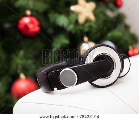 Headphones With Christmas Tree.