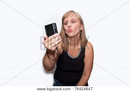 Young Woman With Photocamera