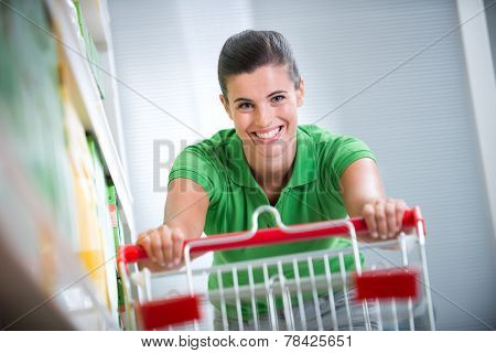 Enjoying Shopping At Supermarket