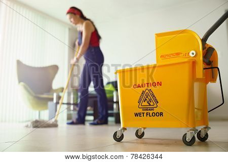 Woman Doing Chores Cleaning Floor At Home Focus On Bucket