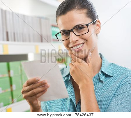 Attractive Woman With Shopping List