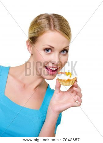 Happy Woman Holding Sweet Cake