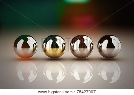 Leadership Concept With Golden Sphere And Many Chrome Spheres