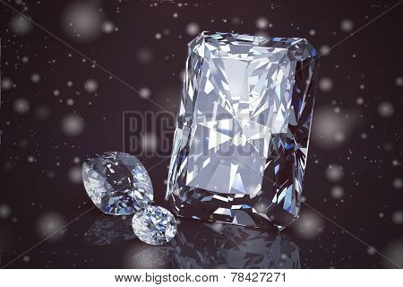 Shiny Bright Diamond On Background ( Vintage Style)