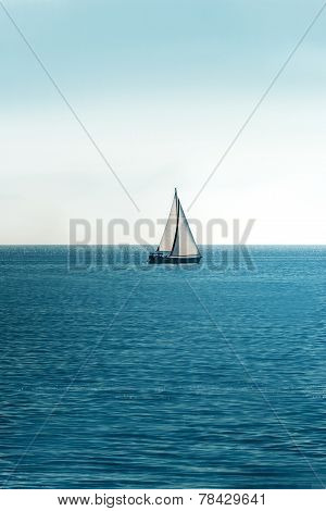 White sailboat on the ocean