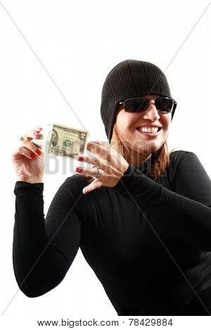 Thief holding money isolated on white background