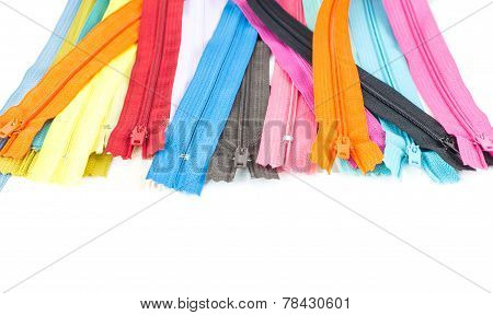 Colorful Zipper On White Background
