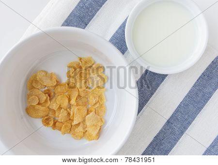 Heart Shape Cornflake in Bowl and milk