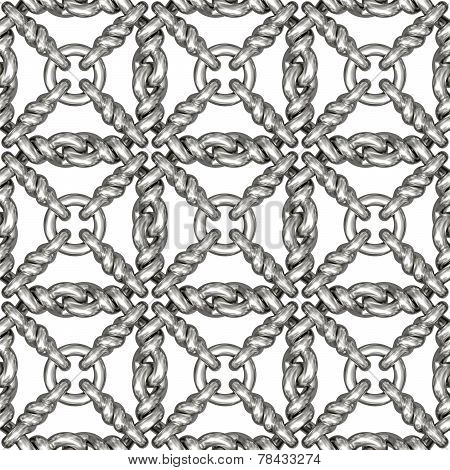 Seamless Pattern Of Silver Wire Mesh Or Fence On White