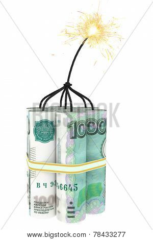 Dynamite Composed Of Ruble Bills With A Burning Wick