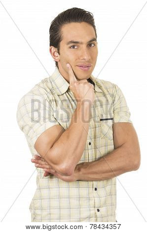 young handsome hispanic man posing thinking