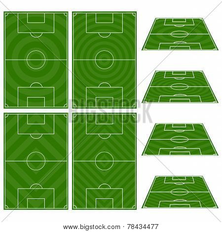 Set Of Football Fields With Circular And Diagonal Patterns