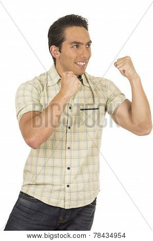 young handsome hispanic man posing with fists up