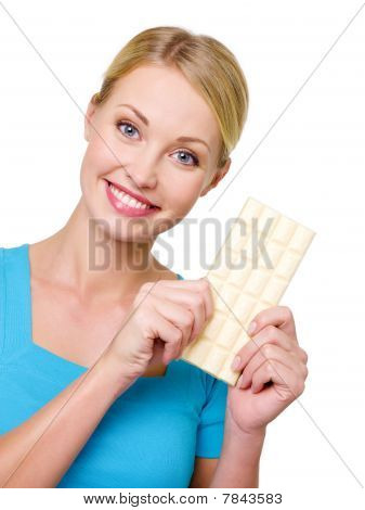 Beautful Woman With The White Bar Of Chocolate