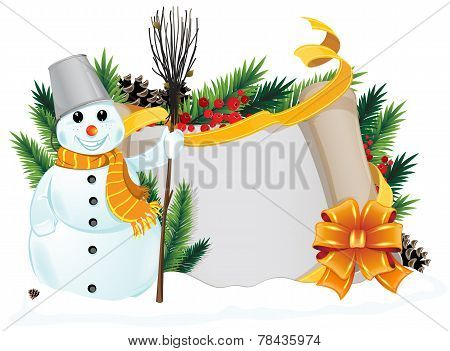 Snowman With Yellow Scarf