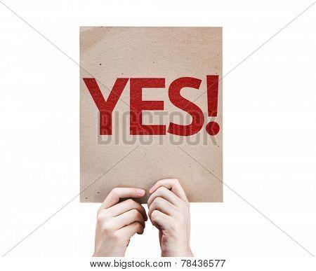 Yes! card isolated on white background