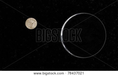 Planet With Moon In Galaxy