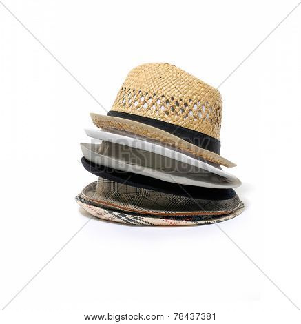 Stacked of Antique Panamanian hand made straw hat