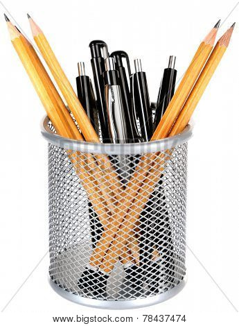 Pens and sharp pencils in metal vase isolated on white background