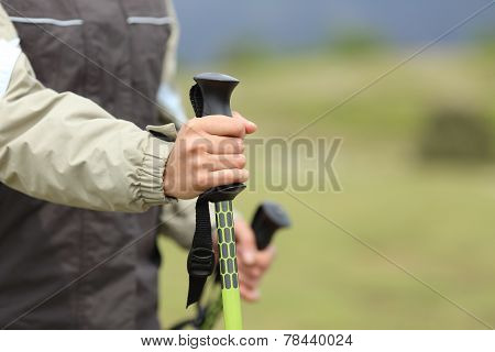 Hiker Hands Holding A Hiking Pole While Walking