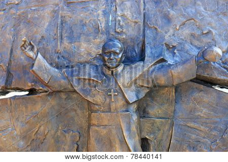 Wadowice, Poland - September 07, 2014: Sculpture Of Pope John Paul Ii In The City Center Of Wadowice