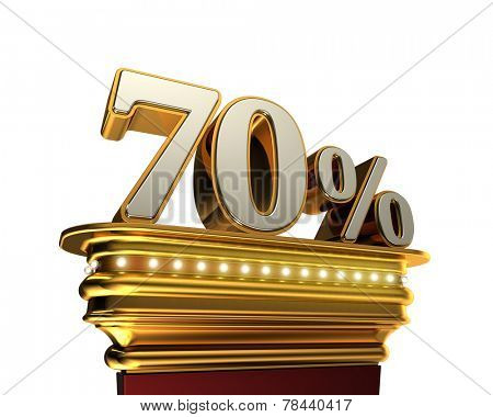 Seventy percent figure on a golden platform with brilliant lights over white background