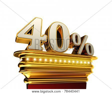 Forty percent figure on a golden platform with brilliant lights over white background