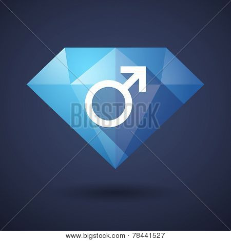 Diamond Icon With A Male Sign