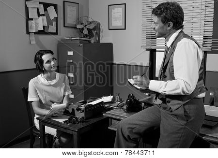 Vintage Director And Secretary Working In The Office