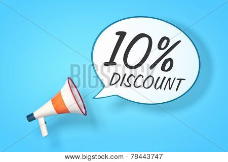 A megaphone with a speech bubble and the message 10 percent discount