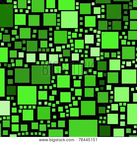 Green colour squares on a black background abstract.