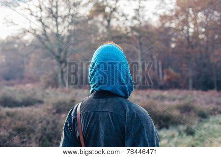 Woman Wearing Headscarf In Forest