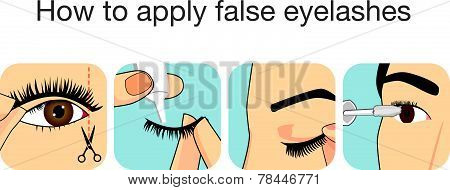 Guide step to applying false eyelash