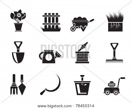 Silhouette Garden and gardening tools icons