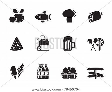 Silhouette food, drink and shop icons