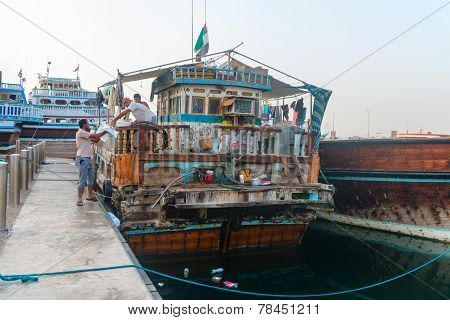 Very Old And Decrepit Traditional Dhows Wooden Boat