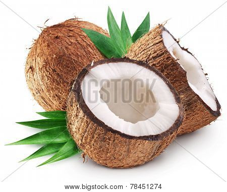 Coconuts and it's half with leaves. File contains clipping paths.