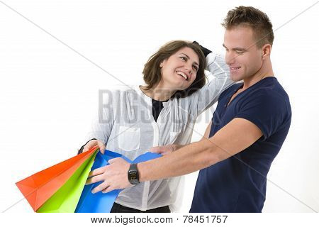 Couple Coming From Shopping