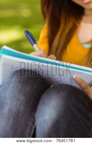 Close up mid section of female college student doing homework in the park