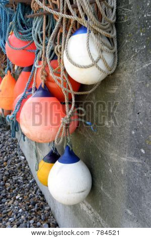 Buoys drying on the quay