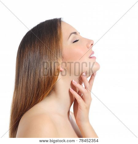 Profile Of A Beautiful Woman With Perfect Skin And Manicure